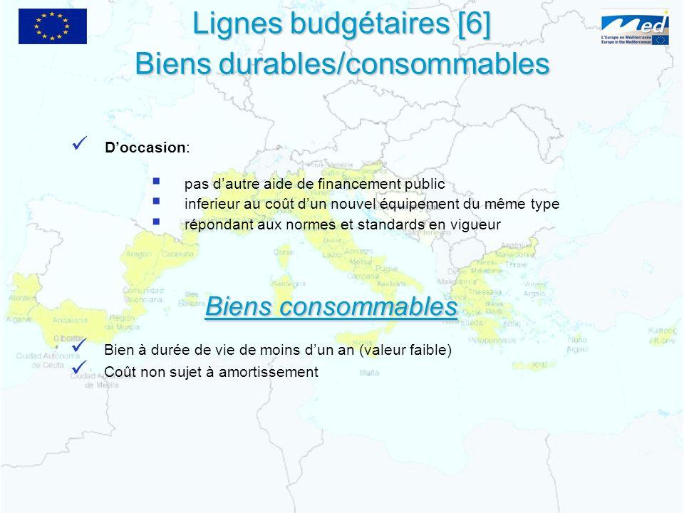 Lignes budgétaires [6] Biens durables/consommables